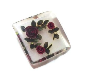 Large Vintage Red Rose Lucite Brooch
