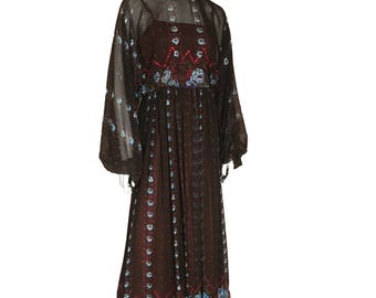Vogue By Jack Glazer Billow Sleeve Maxi Chiffon 1970s Dress UK 10