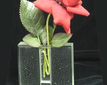 "Clear Kiln Cast Glass Bud Vase,  4 x 4 x 1"", Glass vase, Bud Vase, Fused Glass Flower vase, Flower Vase, Cast Vase, Fused Glass,  V103"