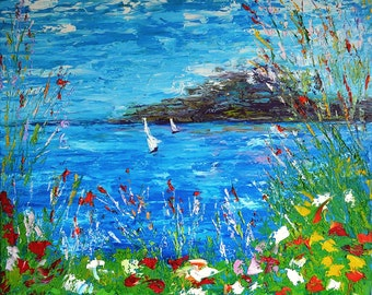 Lake Annecy of France Landscape Painting Original Painting Oil Painting Large Painting Country Home Decor Christmas Gifts Art