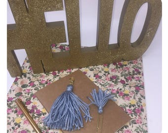 Light Blue Tassel Charm and Small Tassel Paper Clip Planner Set