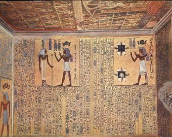 Antique Egyptian Art Hieroglyphics Tomb of Rameses VIth Postcard c1915