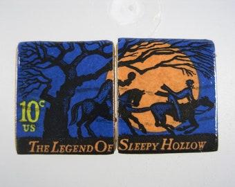 Cufflinks Vintage Genuine USA 10 cents 1974 Stamp Legend of Sleepy Hollow Handmade Cuff Links