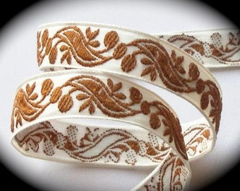 "Vintage Ribbon  Natural  and Brown Swirls2 - 5/8"" x 5 yds"