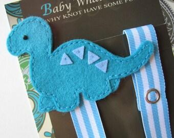 Boy Dinosaur Pacifier Clip, Blue Dino Pacifier Clip, Pacifier Holder, pcdino02