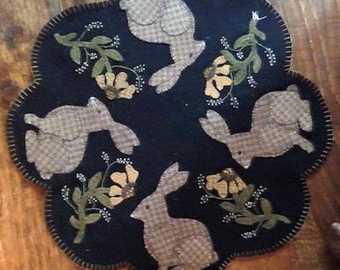 "Pattern: Wool Applique - Mr. Rabbit 17"" Table Mat - Mr. Rabbit's Family - Pattern by Cricket Street Wool"