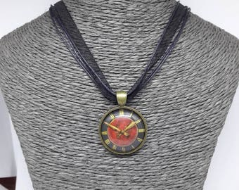 Black organza with steampunk clock pendant necklace
