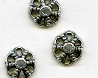 Silver plated Bali style bead cap. 10x4mm pkg of 10. b9-1004(e)