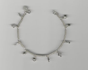Sterling Silver Anklet (.925) Charm Anklet, Gift for Her, Heart Charm, Music Notes and Fish Charm, Boho Anklet, Sterling Silver Chain SSA 21