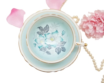 Pastel Blue Paragon Floral Teacup, Blue Floral Tea Cup, Bone China, Shabby Chic, Wedding Gift