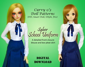Saber School Uniform clothes pattern for Curvy 1/3 60cm BJD: SD, SDGR, Dollfie Dream, Smart Doll,