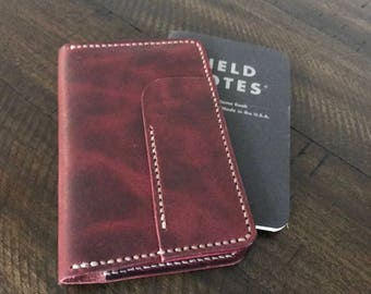 Everest Field Notes Wallet - Horween Leathers Russet Brown Derby - journal cover - leather notebook cover