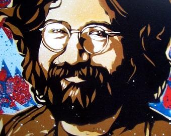 Jerry Garcia Stencil Art Print