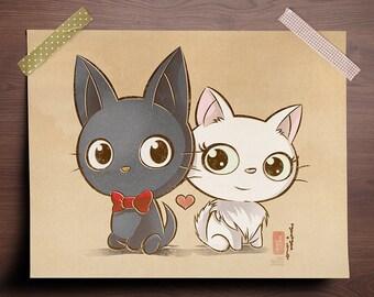 Chibi Ghibli Print - Jiji and Lily (Kiki's Delivery Service)