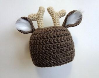 Crochet Newborn White Tail Deer Hat- Photo Prop