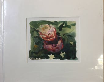 "1""Carnival Roses"" Original Watercolor 5"" x 6"""