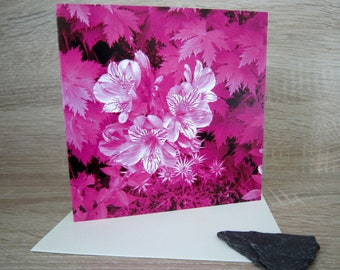 Flower garden, flowers. Greeting card, birthday card, Mothers day, thank you note, anniversary card. Alstromeira. Pink. Blank inside.