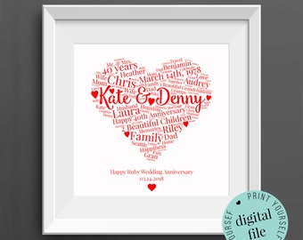 Personalised 40th ANNIVERSARY GIFT - Word Art - Printable - Gift for Wife - 40th Wedding Anniversary - Ruby Anniversary - Gift for Husband