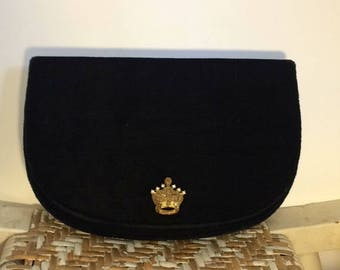 Vintage Black Velvet Clutch Purse