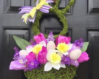 Purple Moss Bunny Wreath