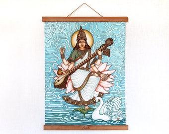 "Saraswati print on organic cotton with magnetic holders, Saraswati Art, Deity, Yoga Art, Spritual Art,Indian Goddess, 34cm x46cm (13"" x 18"")"