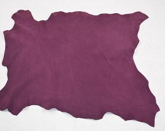 Purple velvet lamb leather skin