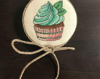 Mother's Day Gift: Cross-stitch Mint Cupcake Kitchen Decor