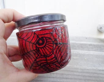Abstract Red & Black Design Stash Jar Handpainted Glass Nug Jug by thriftalina Large Size, One of a Kind Hippie Stoner Gifts