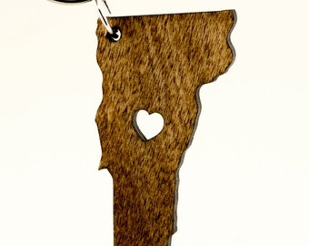Vermont Wooden Keychain - VT State Keychain - Wooden Vermont Carved Key Ring - Wooden VT Charm
