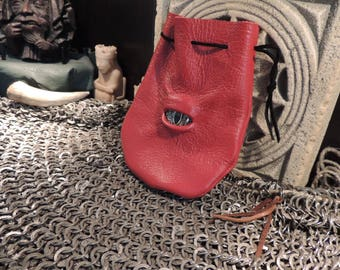 Dragon eye dice bag (Red leather with Gold Eye)----New Style-----
