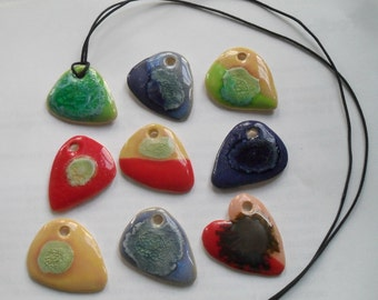 Guitar pick pendant necklace with waxed cotton cord-glazed in green,blue,yellow,red, with Recycled Glass