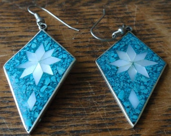 Tourquise and Mother of Pearl Vintage Sterling earrings