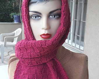 Burgundy  Long Wide Scarf, light claret red wool scarf handknit scarf,  Chunky Knit Wool Winter Scarf Crochet Scarf Cranberry