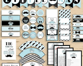 Little Man Baby Shower PRINTABLE Party Package Blue and Black Diy INSTANT DOWNLOAD Pdf