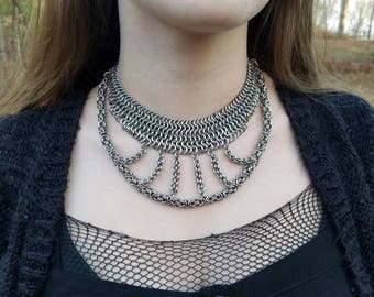 Handmade Chainmaille Harp Necklace