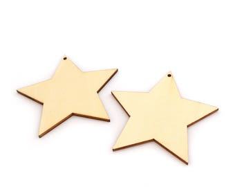 Wooden blank set of 2 star embellishments
