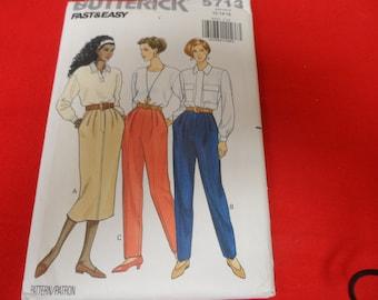 Butterick 5713 Women's Misses Pants and Skirt Pattern  Size 12-14-16 Vintage UNCUT
