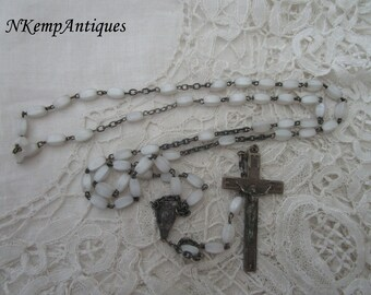 White glass rosary 1930's French