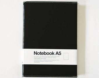 A5 Black Notebook, Stylish sketchbook, Blank notebook with Removable Tyvek cover, Unique handmade stationery