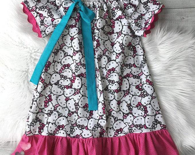 Kitty Peasant Dress Birthday Dress Vacation Dress Toddler Baby Girls Dress Princess Stitch