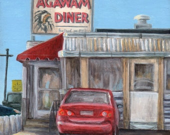 Agawam Diner Giclee of Diner Painting, Limited Edition Art Print  by Debbie Shirley