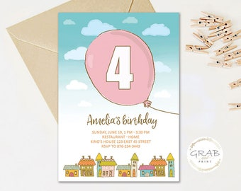 4th Birthday Invitation Girls, Fours Birthday Invitation, Girls Birthday Party Invitations, Pink Baloon Birthday Invite 3rd 4th 5th 6th 7th