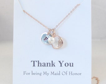 Thank You For Being My Maid Of Honor,Bridesmaid Necklace,Rose Gold,Rose Gold Bridesmaid,Wedding,Bridal Party,Bridesmaid Gift,April,Rose Gold