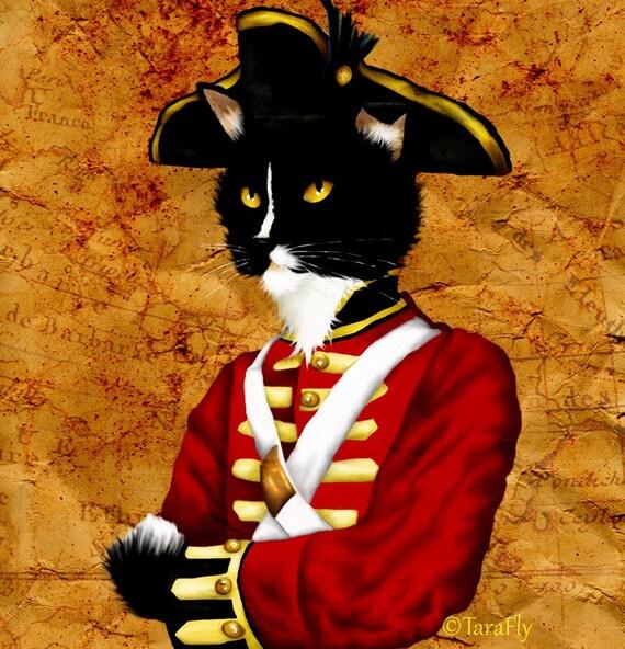 Tuxedo Cat Art, Cat Dressed in Redcoat British Soldier Uniform 8x10 Art Print