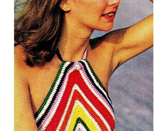 Crochet Halter Top Pattern, Crop Top Striped Summer Beach Top Pattern, Chevron striped Pattern, Crochet Crop Top Pattern- Digital Download