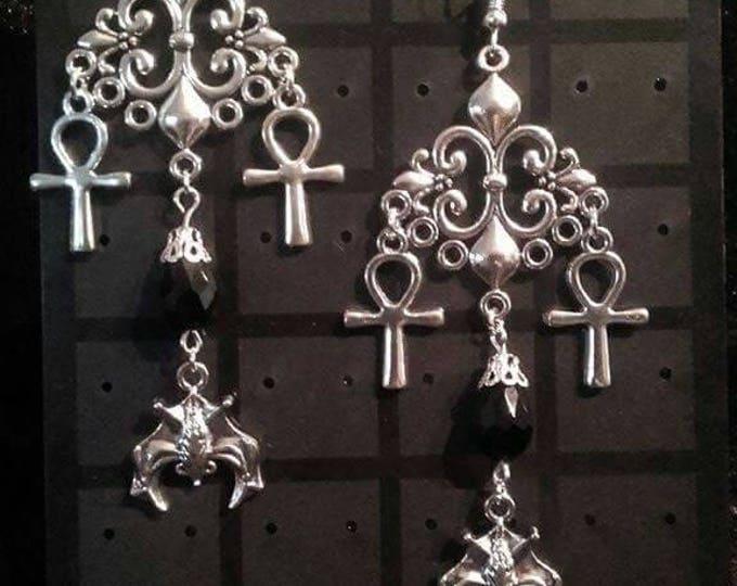 Immortality Earrings - ankh vampire bat cluster earring