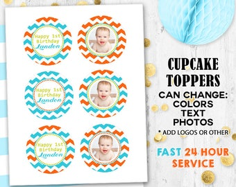 Chevron Cupcake toppers Cake toppers Editable toppers Photo toppers Digital printable Birthday toppers
