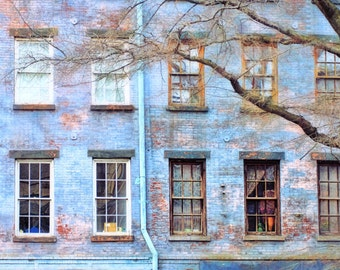 NYC, blue, New York architecture, New York building, brick building, streetscape,apartment in the village, fine art photography, home decor