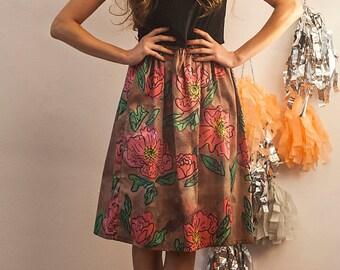 The Poppy Peony Print Midi Skirt