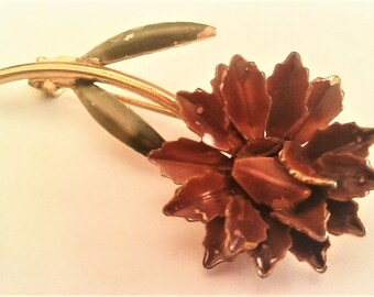 Unsigned Vintage Brown Enamel Flower Brooch Gold Tone Pin Old